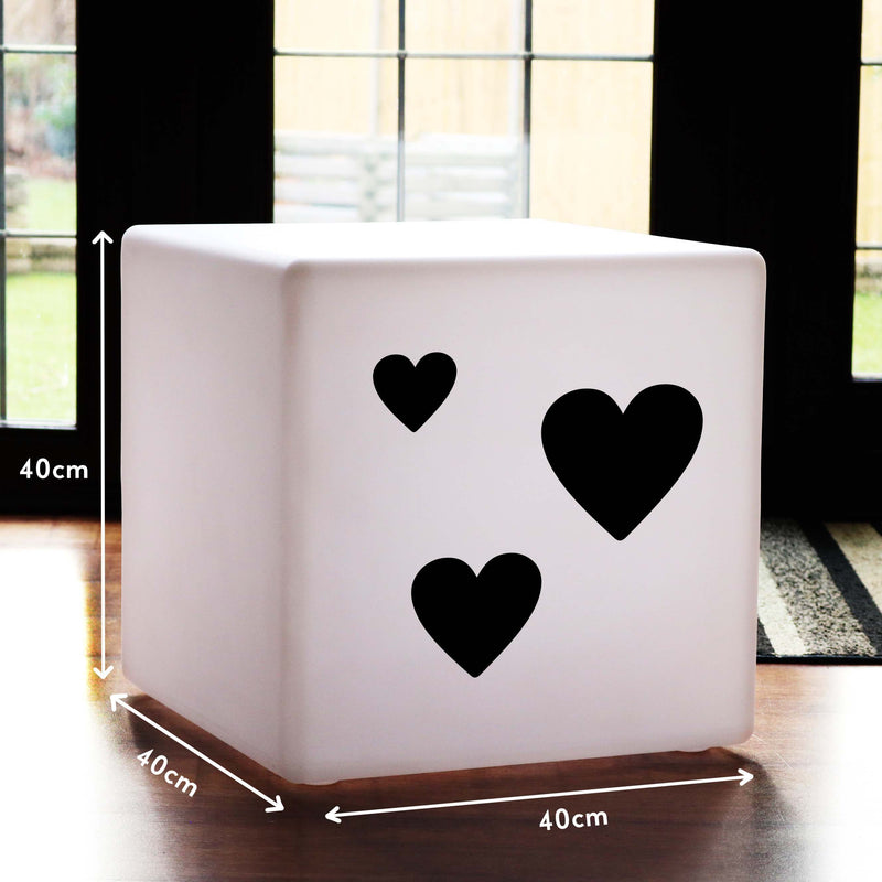 Unique Handmade Gift Light, Outdoor Remote Controlled Cordless LED Stool for Birthday, Cube , Love Hearts Valentine's Gift Light