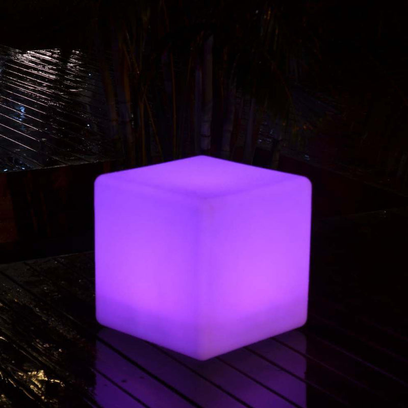 40cm outdoor LED cube stool glowing purple