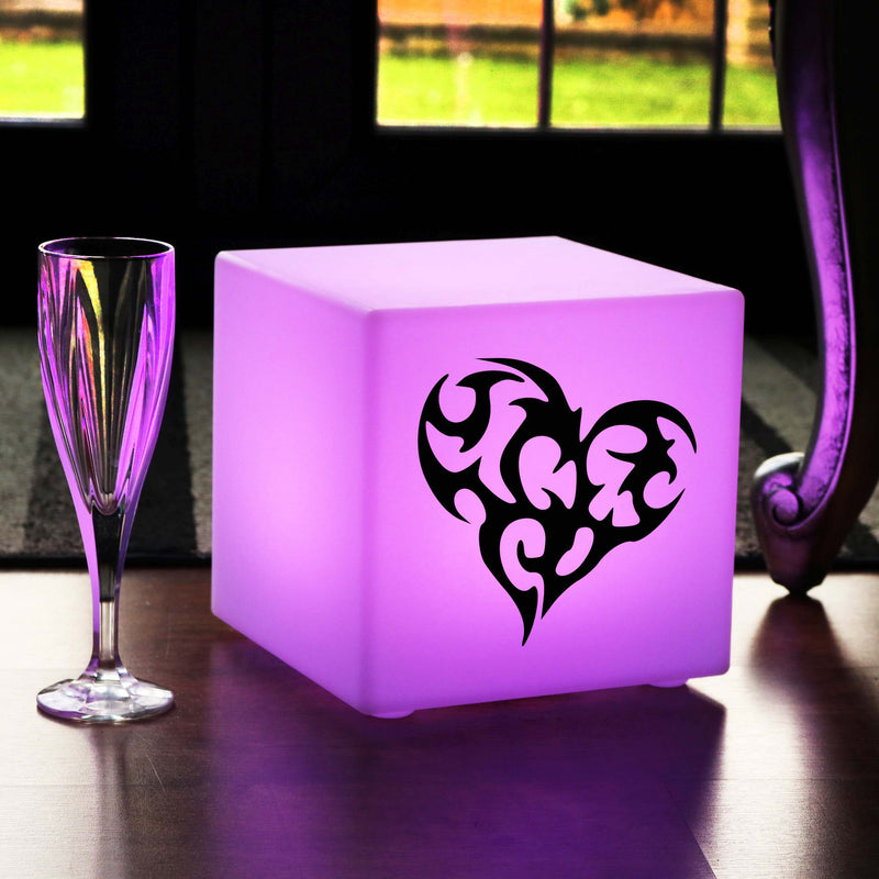 Original Handcrafted Light Gift for Her, Garden Colour Changing Rechargeable Table Lamp Centrepiece for Party, Cube , Love Heart Lamp