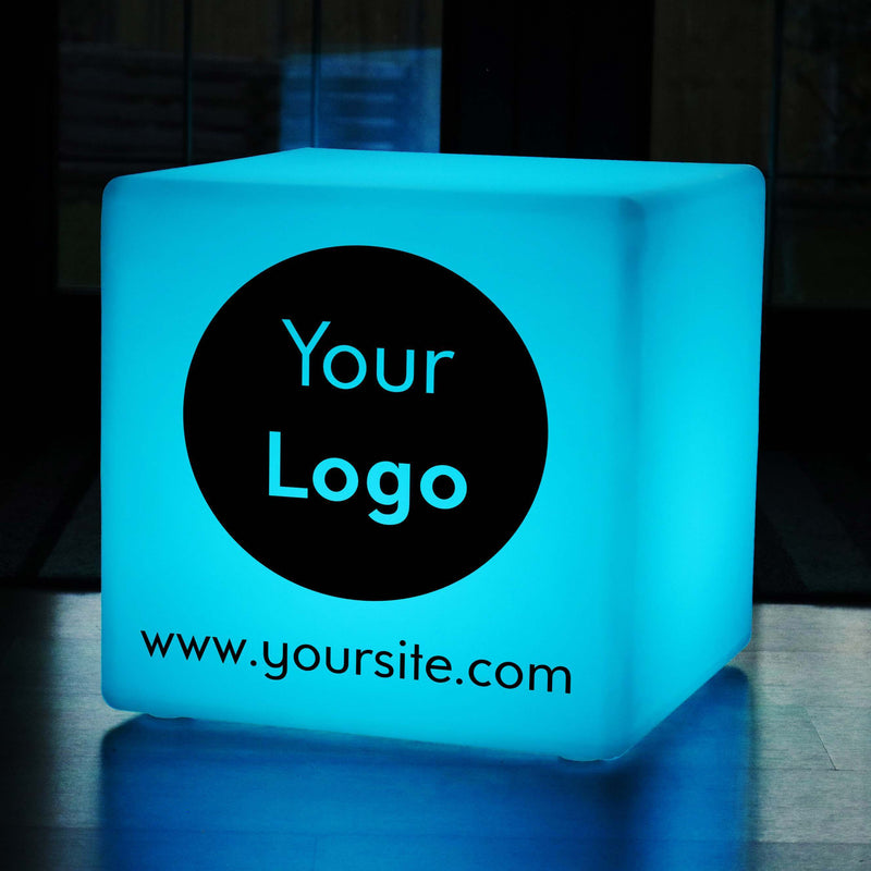 Dimmable Wireless Garden Stool Seat Side Table, Thoughtful Custom Lightbox for Wedding, Cube 60 cm