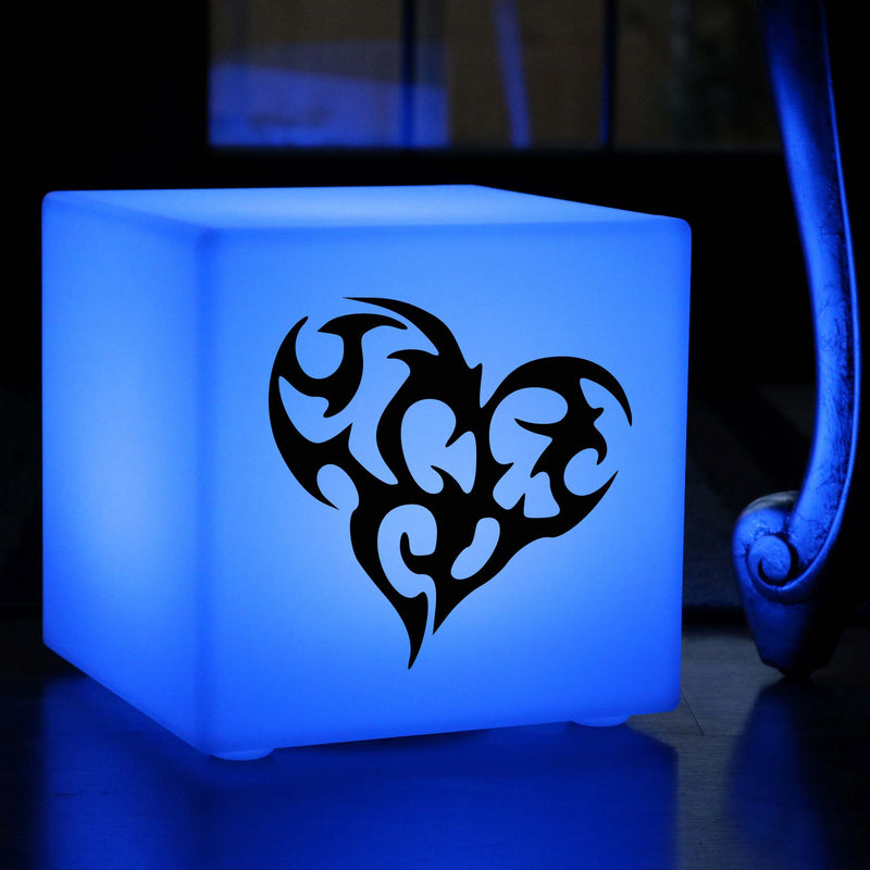 Funky Gift Light for Him, LED Multicolour Rechargeable Table Lamp Centrepiece for Restaurant, Cube , Love Heart Lamp Gift