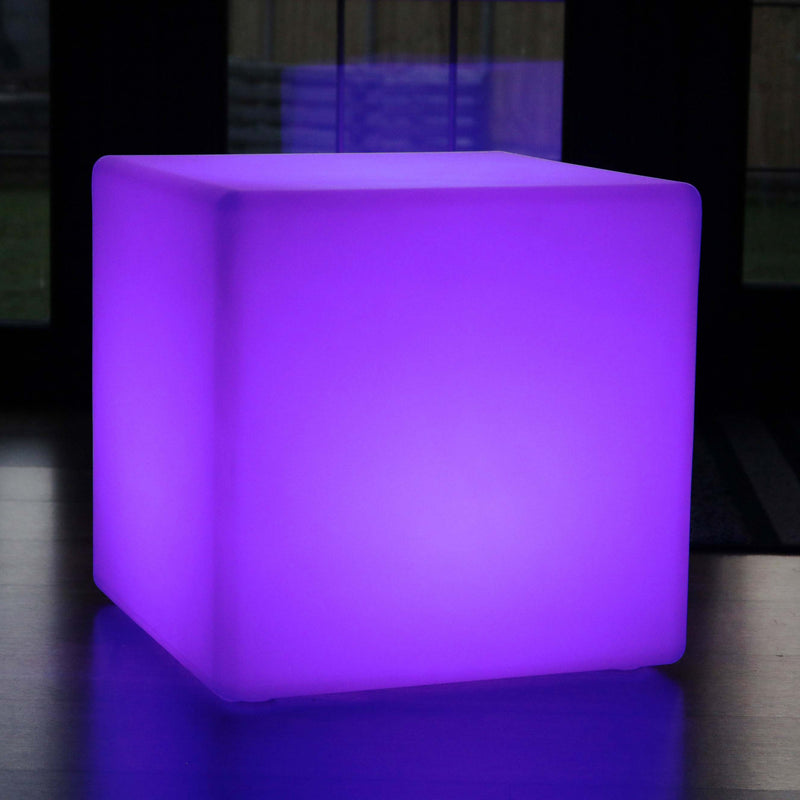 Large Outdoor Mood Cube Stool, 50cm Waterproof Garden Light