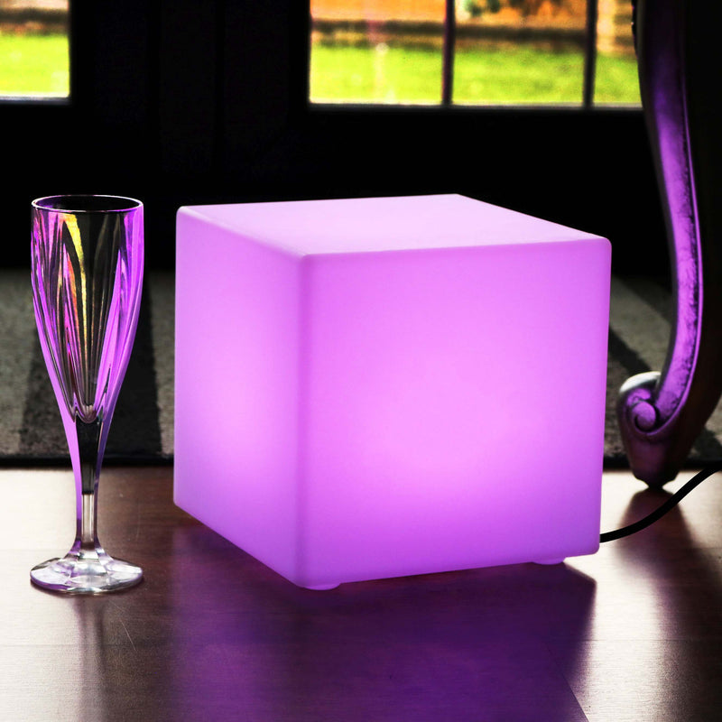20cm Colour Changing LED Cube Light + Remote, Mains Powered, Dimmable