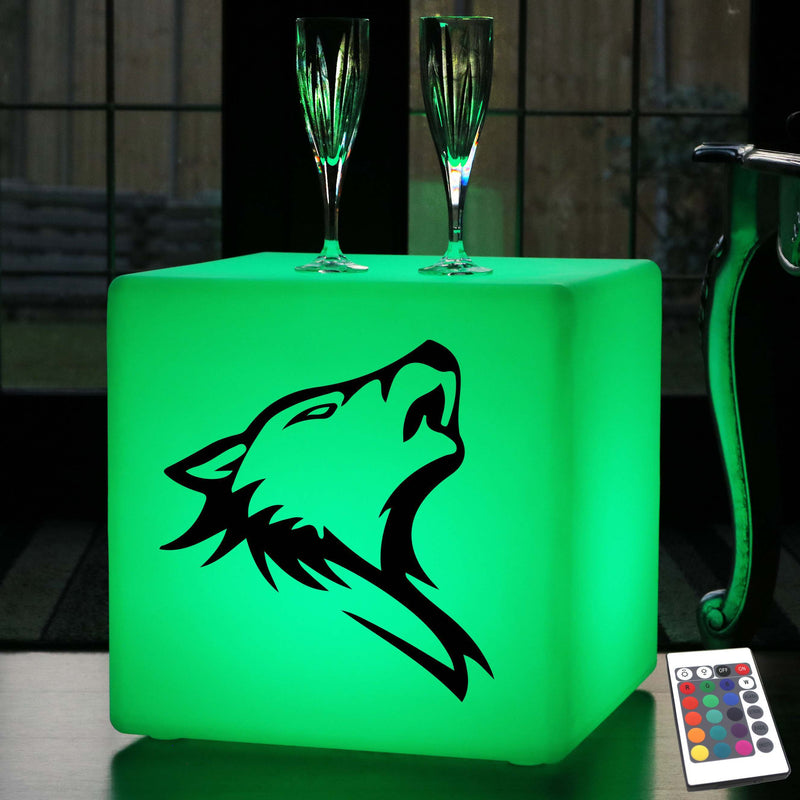 Unique Gift Lamp, LED Multi Colour Wireless Stool Seat Furniture for Event, Cube , Wolf Head Light