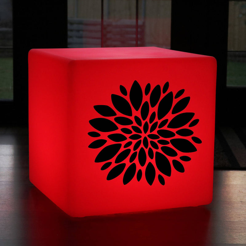 Original Handcrafted Gift Lightbox, Decorative Colour Change Rechargeable Light Up Stool for Anniversary, Cube , Flower Burst Lamp Gift