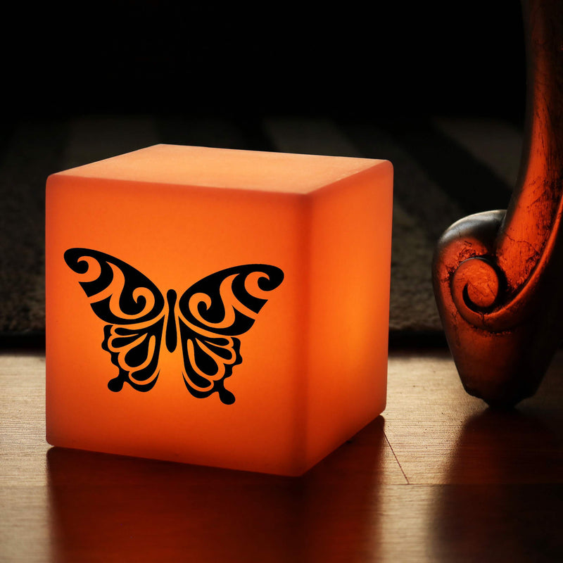 Quirky Light, LED Remote Controlled Battery Operated Table Lamp Centrepiece for Restaurant, Cube , Butterfly Lamp Gift