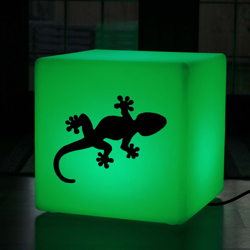 Creative Handmade Gift Light Box, Lounge Dimmable Floor Lamp Stool for Nightclub, Cube , Mains Powered, Gecko Light Gift