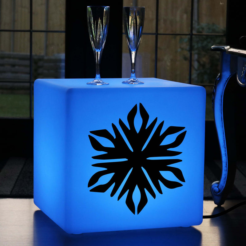 Unique Handmade Lightbox, LED Remote Controlled LED Stool for Bar, Cube , Mains Powered, Snowflake Light