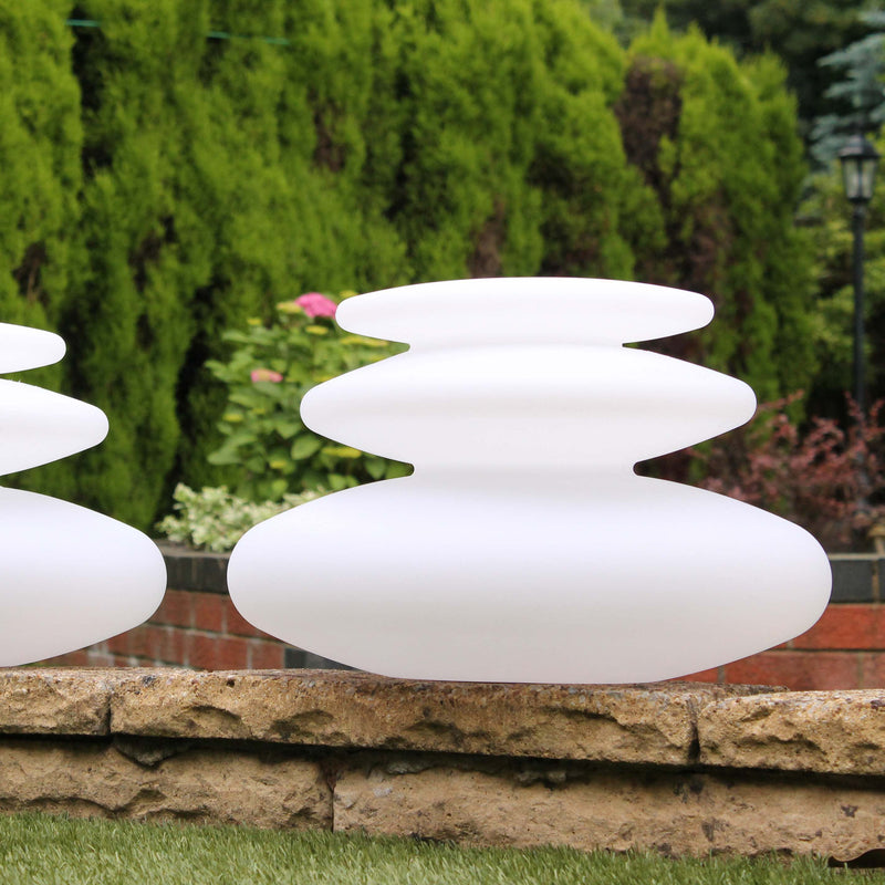 Two spiral lamps, 25 cm high, next to each other