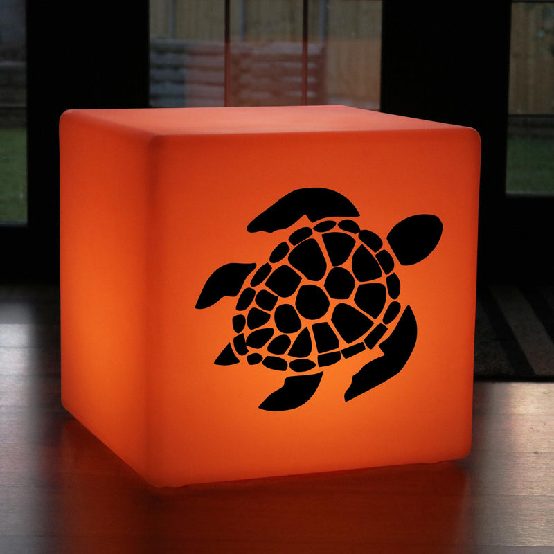 Original Handcrafted Gift Light for Him, Waterproof Multicolour Rechargeable Illuminated Seat for Decoration, Cube , Sea Turtle Light