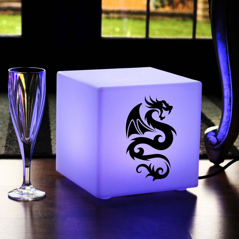 Original Light Box, Bedroom Colour Change Table Lamp for Anniversary, Cube , Mains Powered, Chinese Dragon Gift Lamp