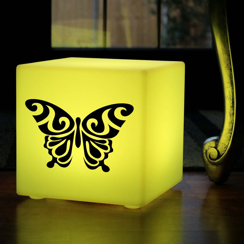 Original Handmade Gift Lightbox, Modern Colour Changing Cordless Table Lamp Centrepiece for Night Club, Cube , Butterfly Lamp