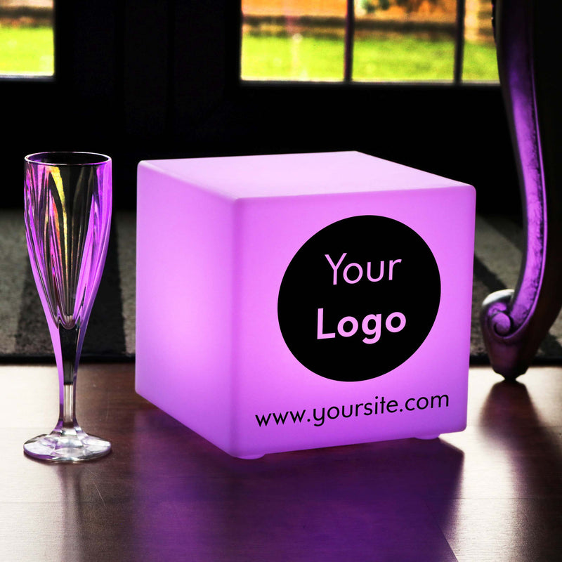 Branded Lightbox, LED Multicolour Rechargeable Table Lamp for Party, Cube