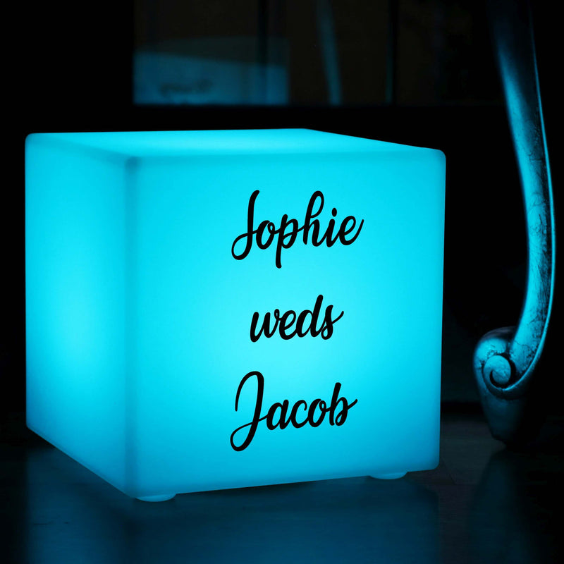 Table Lamp Centrepiece, Personalised Colour Changing Wireless Garden Gift Light Box for Nightclub, Cube 30cm