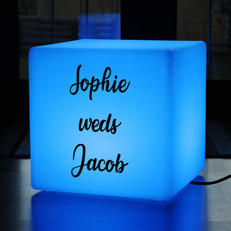 Lightbox Up Stool, Personalised Colour Changing Lounge Gift Lightbox for Event, Cube 50 x 50 cm, Mains Powered