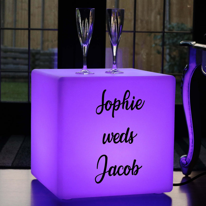 Remote Controlled Contemporary Lightbox Up Stool, Promotional Customised Gift Lightbox for Decoration, Cube 40cm, Mains Powered