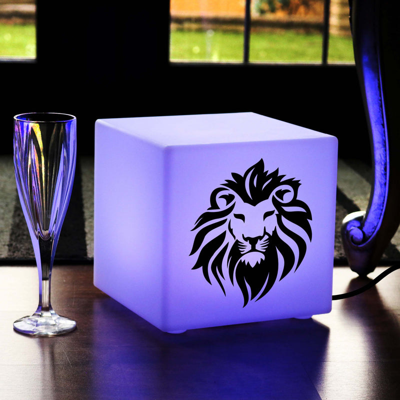 Creative Gift Light for Her, Contemporary Colour Changing Table Lamp Centrepiece for Night Club, Cube , Mains Powered, Lion Head Light