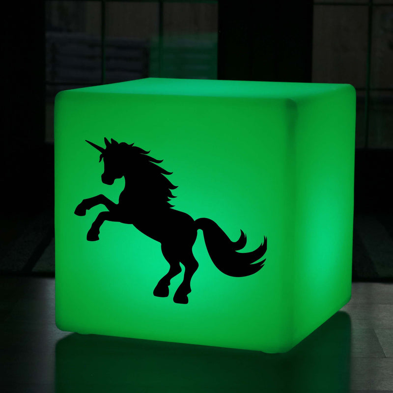 Unique Gift Light, Modern Dimmable Rechargeable Illuminated Stool for Anniversary, Cube , Unicorn Gift Lamp