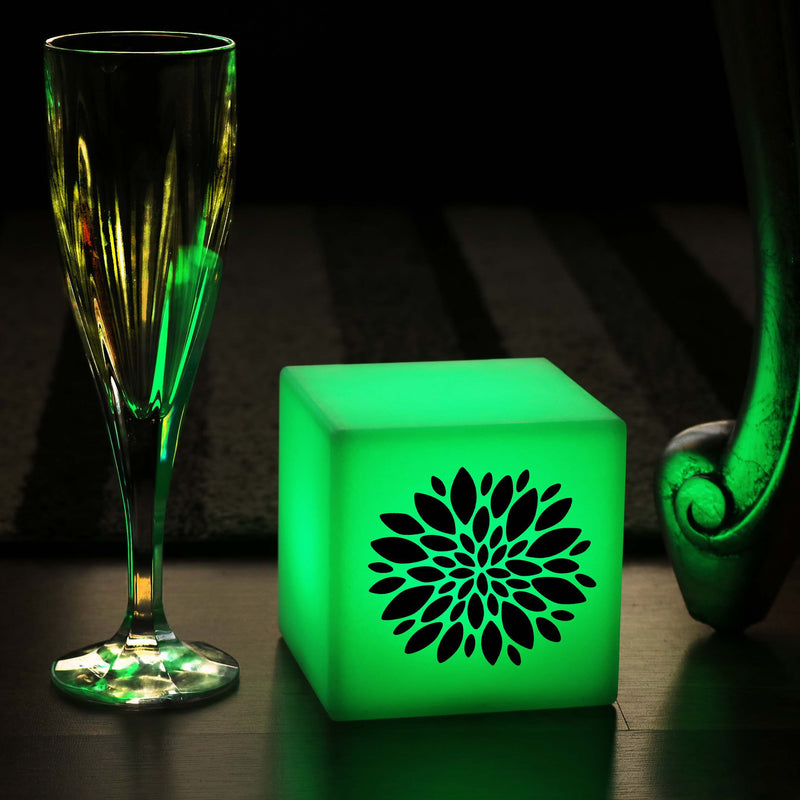Creative Gift Light for Her, Lounge Remote Controlled Battery Operated Table Lamp for Hotel, Cube , Flower Light Gift