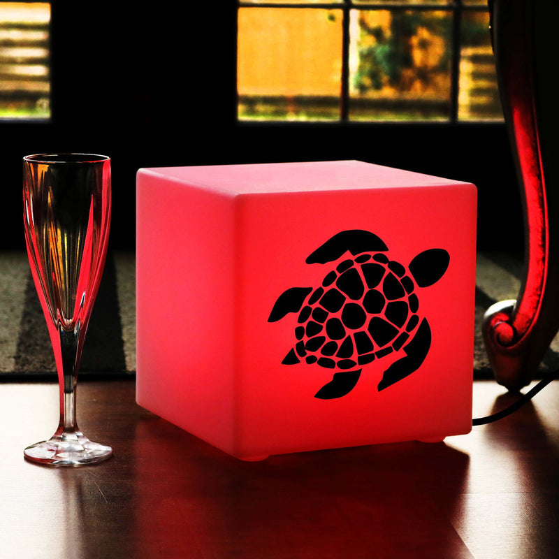Funky Gift Lamp, Bedroom Dimmable Table Bedside Lamp for Anniversary, Cube , Mains Powered, Sea Turtle Lamp