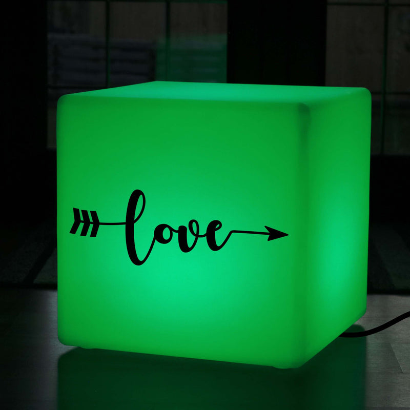 Unique Handcrafted Gift Lightbox, LED Multi Colour Light Up Stool for Hotel, Cube , Mains Powered, Love Arrow Light Gift