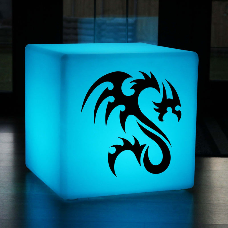 Funky Gift Lightbox, Living Room Multicolour Rechargeable LED Seat for Hotel, Cube , Tribal Dragon Light
