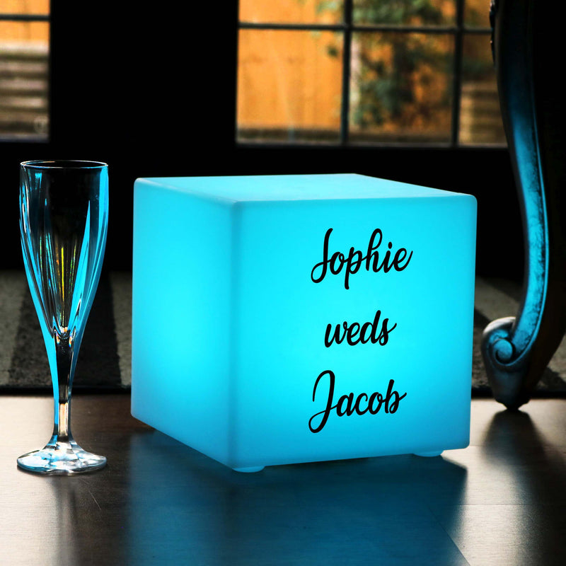 Table Lamp Centrepiece, Custom Sign Multi-Colour Rechargeable Waterproof Gift Light Box for Bar, Cube 20cm