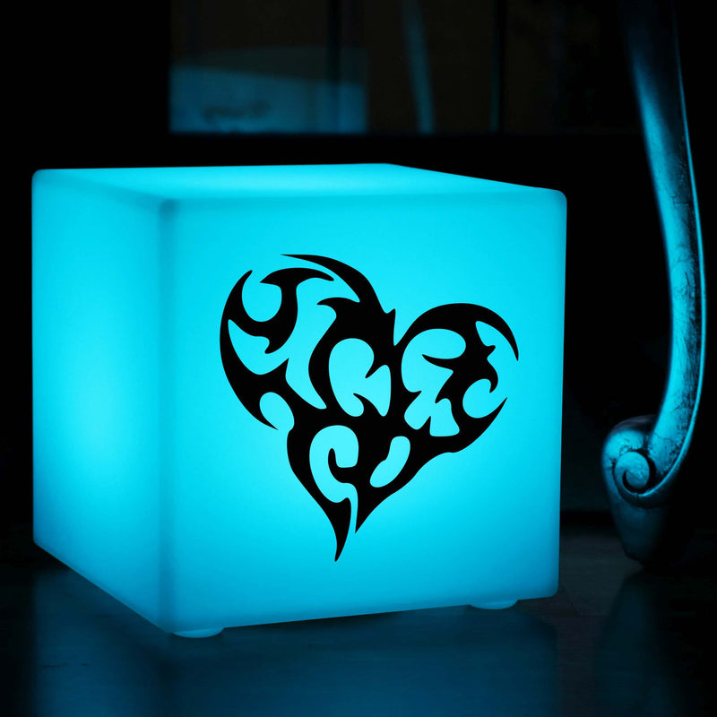 Original Handmade Light, Modern RGB Rechargeable Table Bedside Lamp for Anniversary, Cube , Heart Lamp Gift