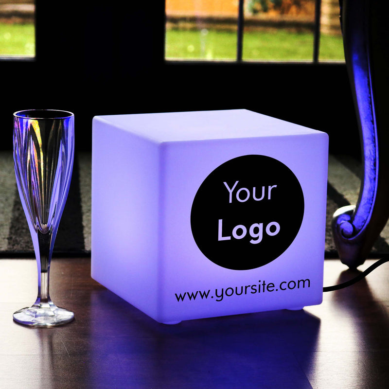 Thoughtful Custom Gift Light Box, Bedroom RGB Table Lamp for Hotel, Cube 20 cm, Mains Powered