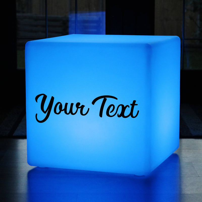 Stool Seat, Promotional Customised Colour Changing Rechargeable Outdoor Light Box for Anniversary, Cube 50 cm