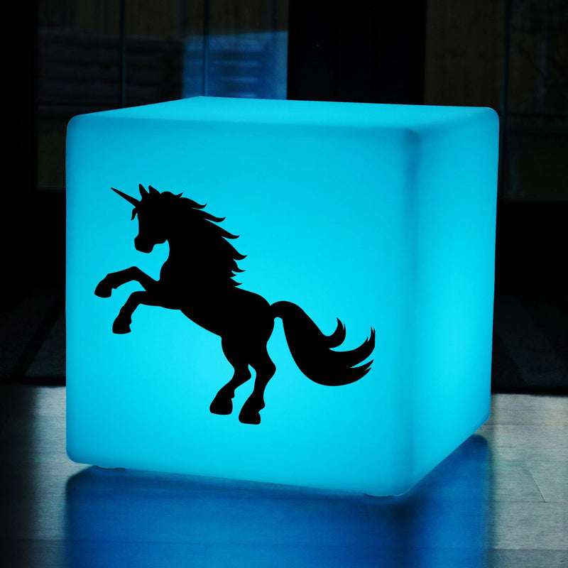 Unique Handmade Lightbox, Garden Colour Changing Wireless Stool Seat Furniture for Night Club, Cube , Unicorn Gift Lamp