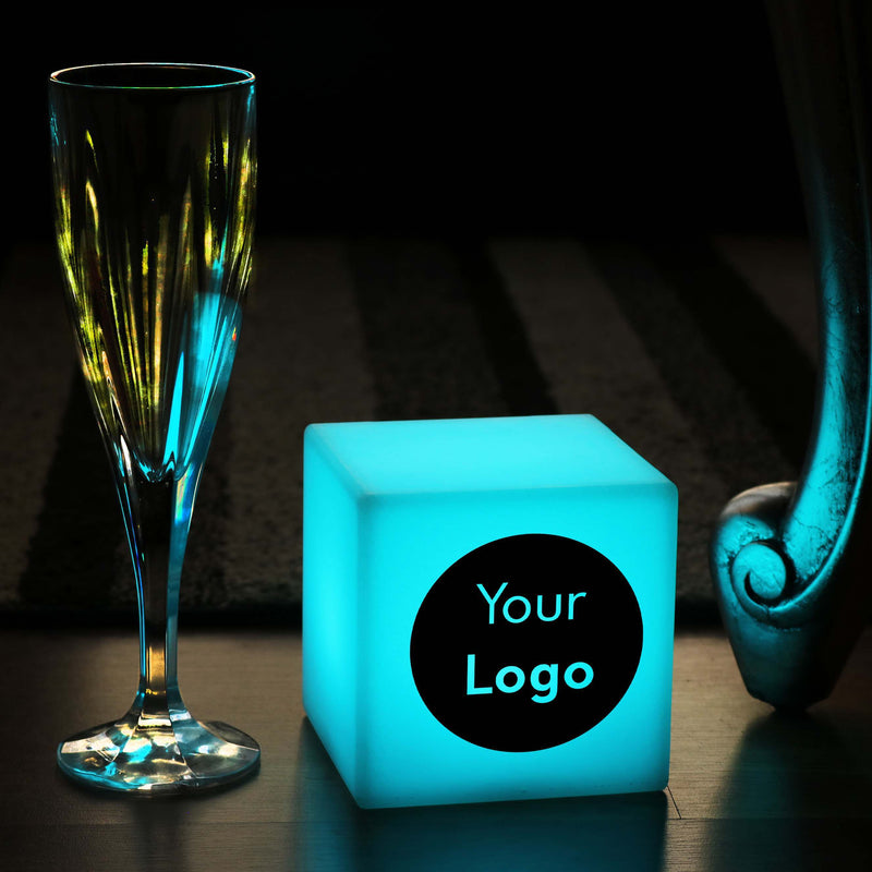 Personalised Gift Light Box, Living Room Multicolour Battery Powered Table Lamp Centrepiece for Restaurant, Cube