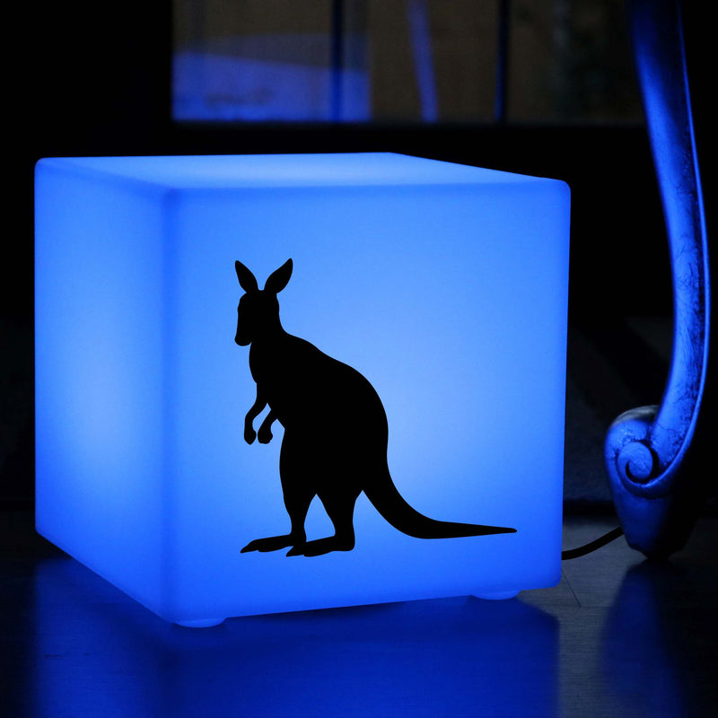 Original Handcrafted Gift Light, Modern Multicolour Table Lamp for Event, Cube , Mains Powered, Kangaroo Light Gift