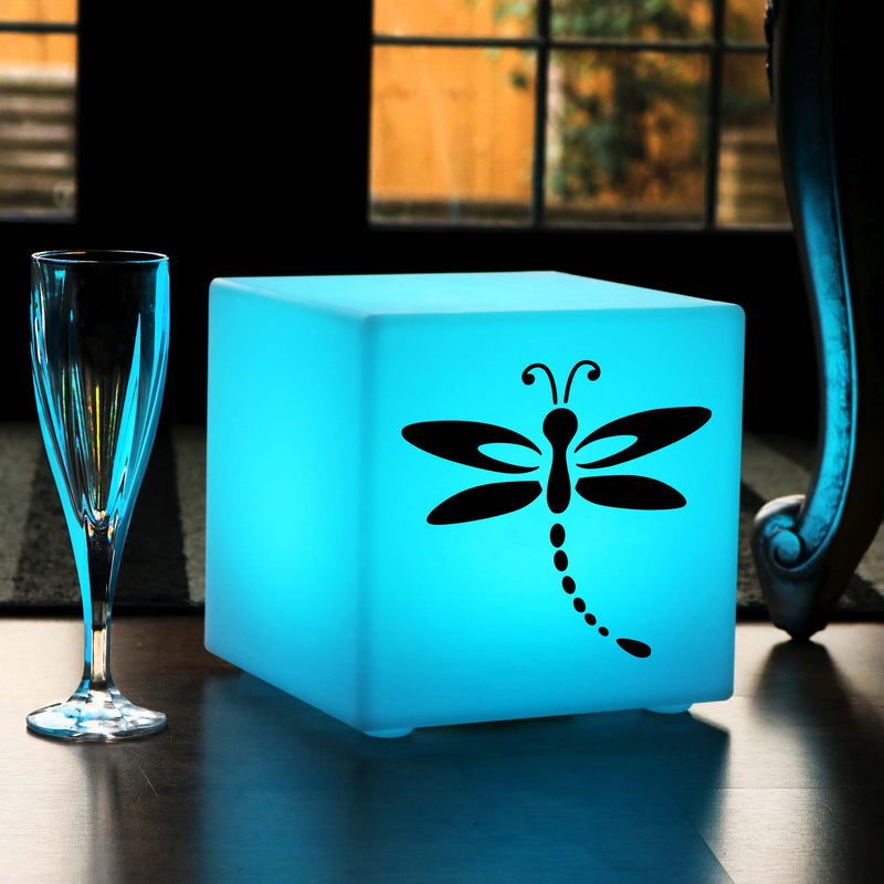Original Handcrafted Gift Light for Him, Waterproof Dimmable Rechargeable Table Lamp Centrepiece for Decoration, Cube , Dragonfly Light