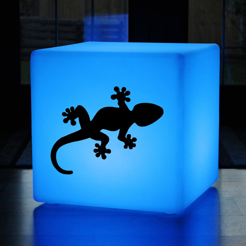 Unique Lightbox, Living Room RGB Cordless LED Stool Seat for Night Club, Cube , Gecko Gift Light