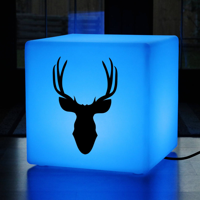 Funky Thoughtful Gift Light, Decorative Multi Colour Light Up Stool for Nightclub, Cube , Mains Powered, Deerhead Gift Lamp
