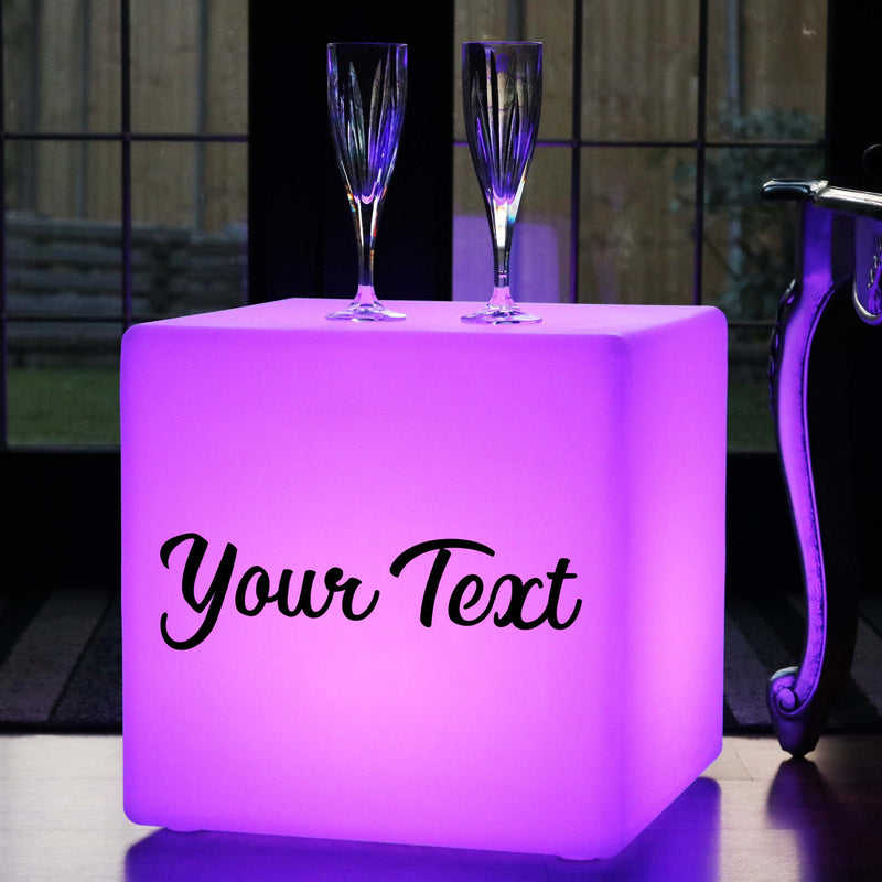 Light Box Up Seat, Personalised Dimmable Rechargeable Garden Gift Light Box for Event, Cube 40cm