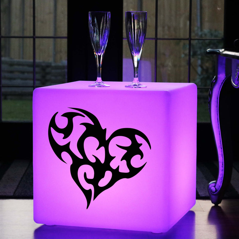 Original Handmade Gift Light, Outdoor Dimmable Wireless Light Up Stool for Event, Cube , Heart Gift Light