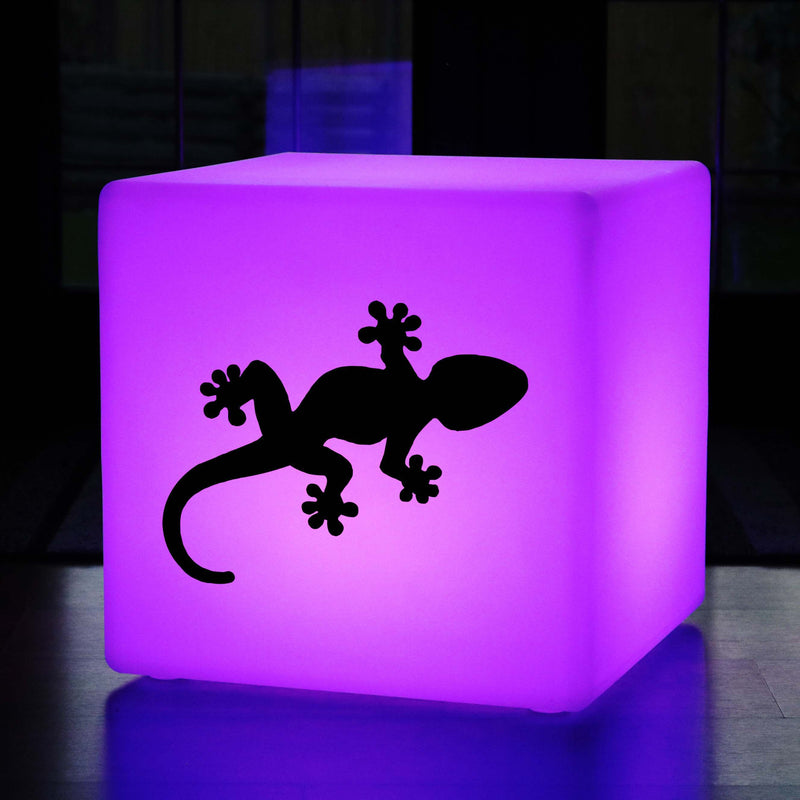 Original Handmade Lightbox, Garden Multi Colour Wireless Illuminated Stool for Bar, Cube , Gecko Lamp