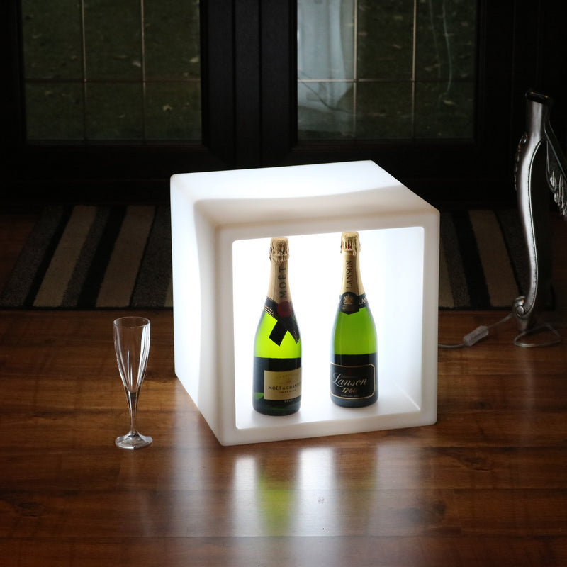 Outdoor LED Champagne Wine Display Unit, Stackable Modular Drinks Bar, Mains Powered