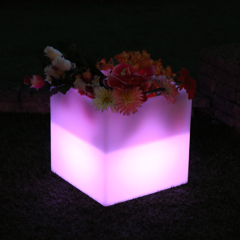 Outdoor Mains Powered LED RGB Flower Vase Plant Pot for Garden, Patio, Terrace, Balcony