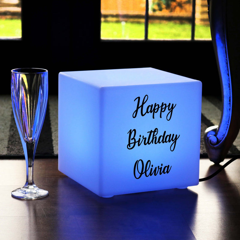 Personalised Sign Light Box, Contemporary Colour Changing Table Lamp Centrepiece for Decoration, Cube 20 x 20 cm, Mains Powered