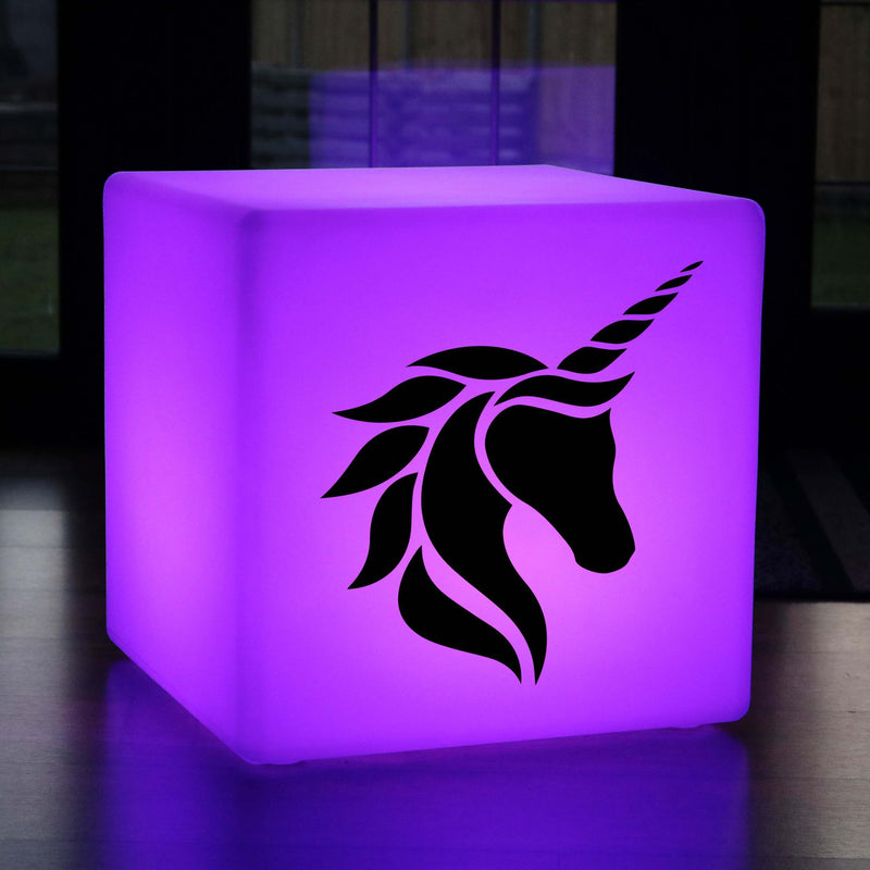 Creative Handmade Gift Lightbox, Contemporary Ambient Rechargeable LED Seat for Restaurant, Cube , Unicorn Head Lamp Gift