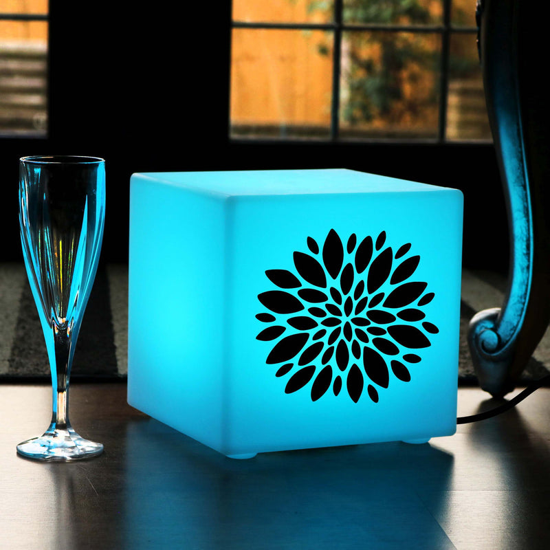 Funky Gift Light Box, Lounge Multi Colour Table Lamp for Birthday, Cube , Mains Powered, Flower Burst Lamp