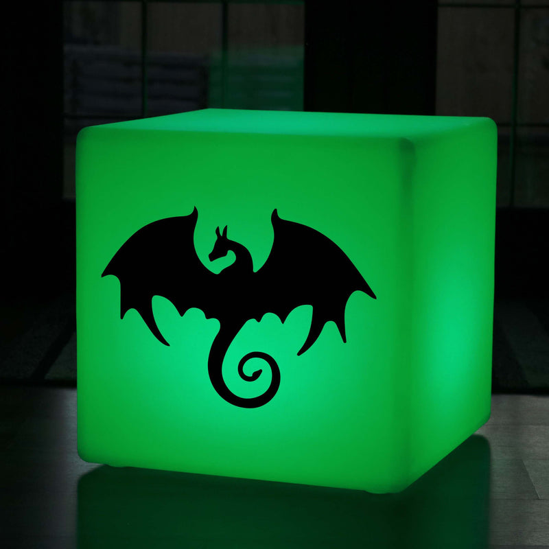 Unique Handcrafted Light Gift for Her, LED Dimmable Wireless LED Stool Seat for Birthday, Cube , Dragon Gift Light