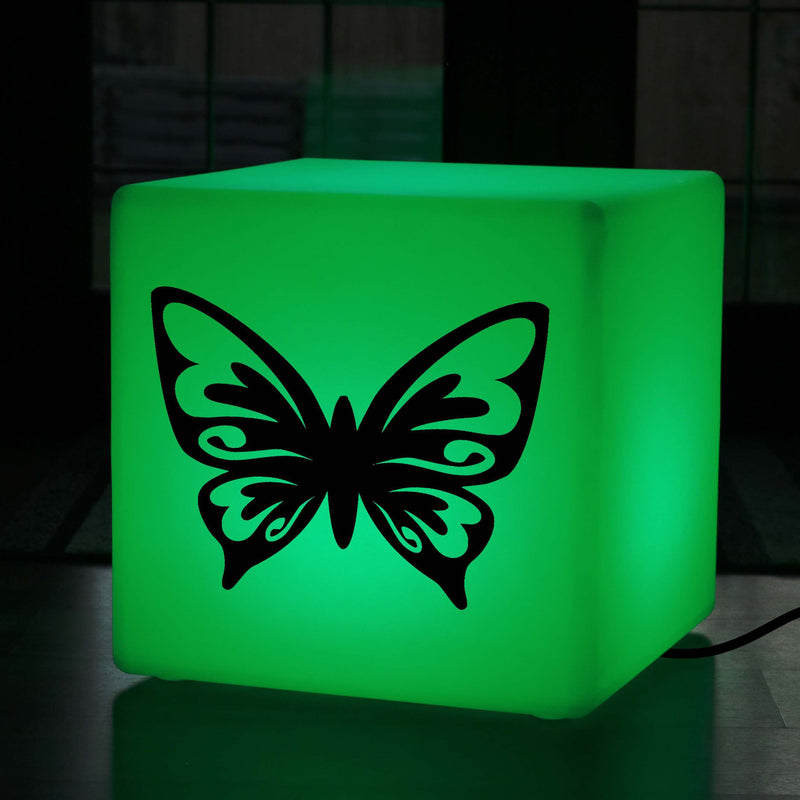Unique Handcrafted Light Gift for Her, LED Colour Change Stool Seat Side Table for Nightclub, Cube , Mains Powered, Butterfly Light Gift