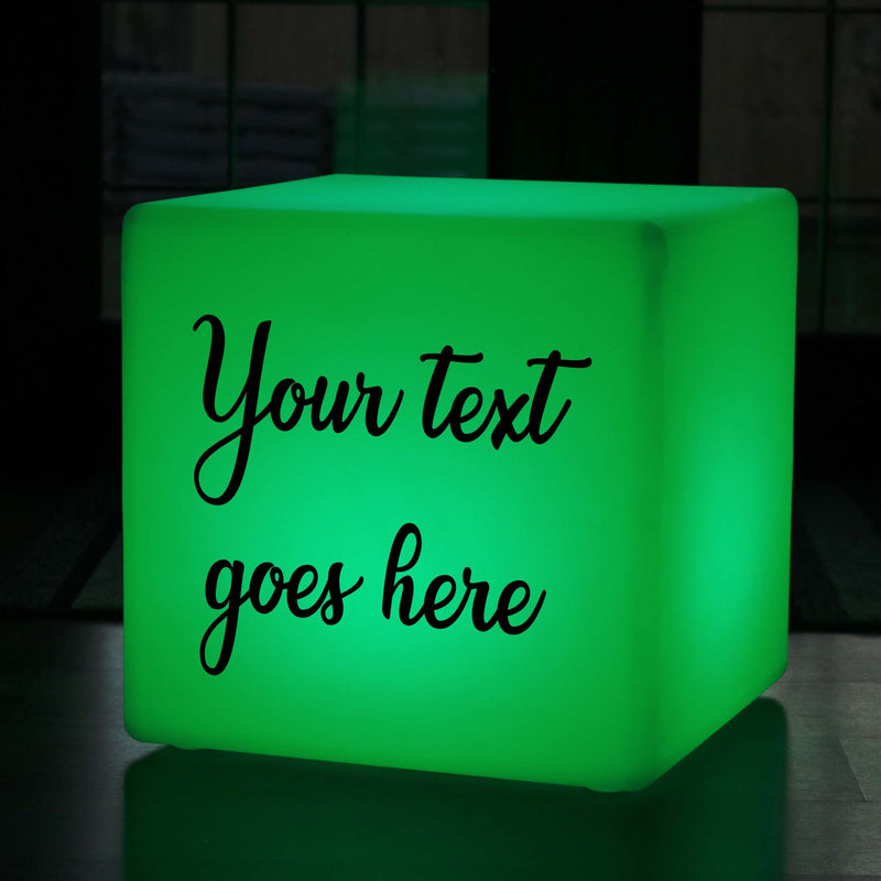 Light Box Up Stool, Thoughtful Personalised Colour Change Cordless LED Gift Light Box for Decoration, Cube 50 cm