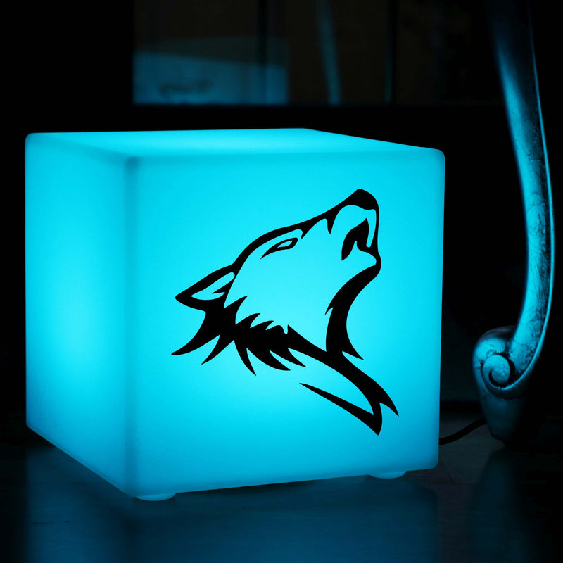 Original Gift Light Box, LED Colour Change Table Lamp for Event, Cube , Mains Powered, Wolf Lamp Gift