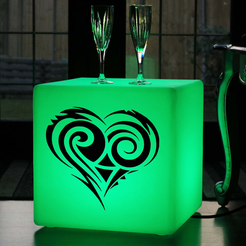 Quirky Gift Light, Contemporary Colour Change LED Stool for Birthday, Cube , Mains Powered, Heart Gift Lamp
