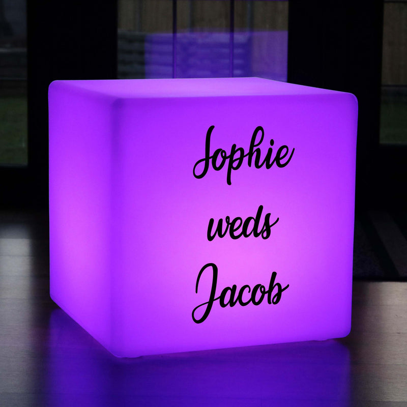Colour Change Rechargeable Outdoor Stool Seat, Customised Gift Lightbox for Event, Cube 60 cm